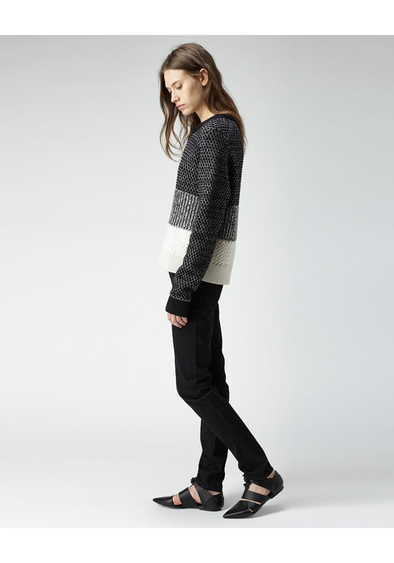 Mixed Knit Colorblocked Pullover