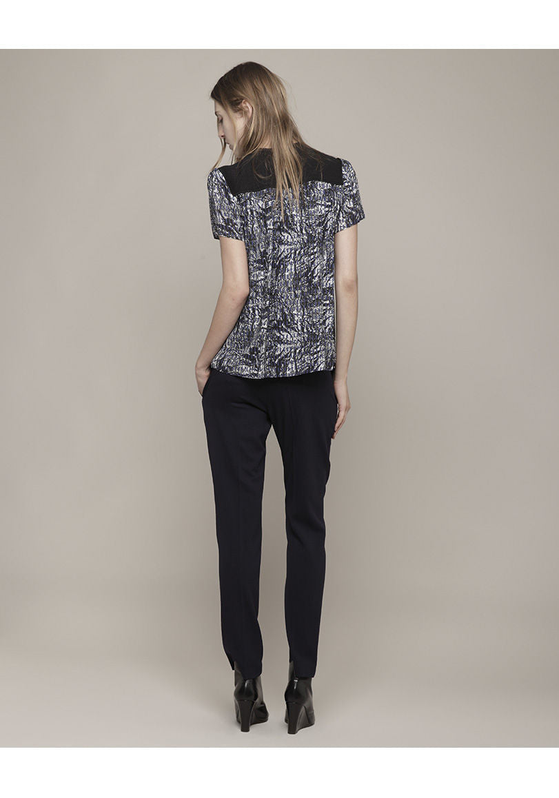 Printed Top with Contrasting Yoke