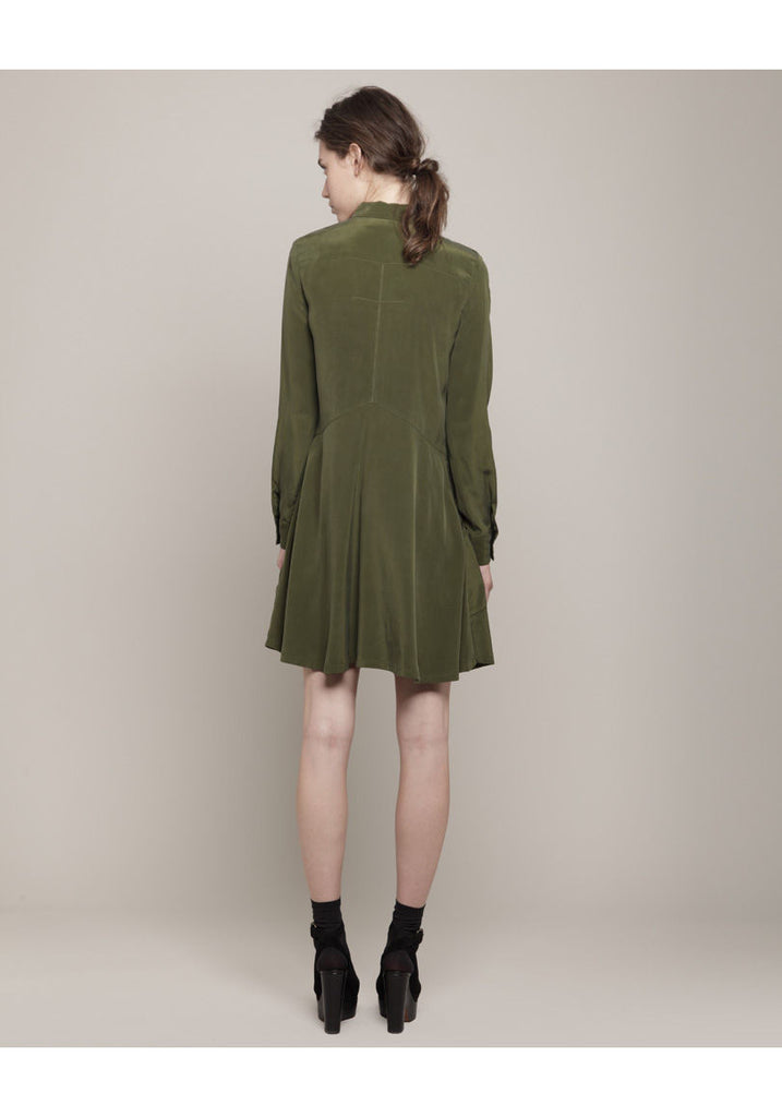Silk Pocket Shirtdress