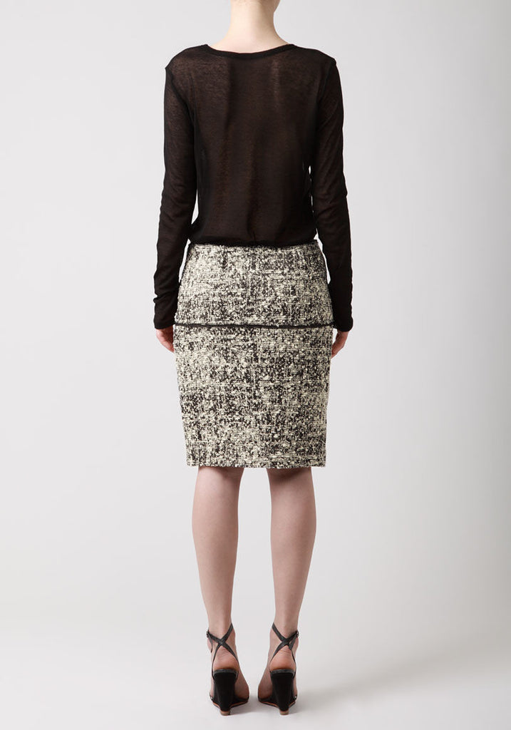 Tweed Chiffon Straight Skirt
