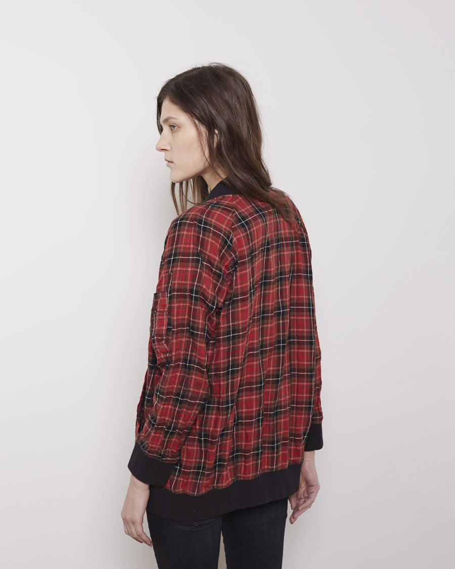Oversized Plaid Flight Jacket