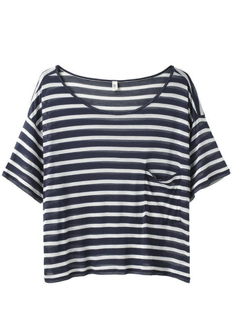 Striped Cropped Pocket Tee