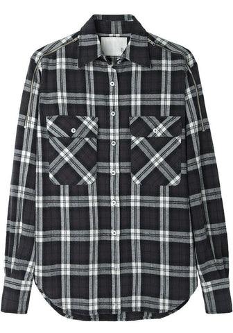 Zip Shoulder Flannel Shirt