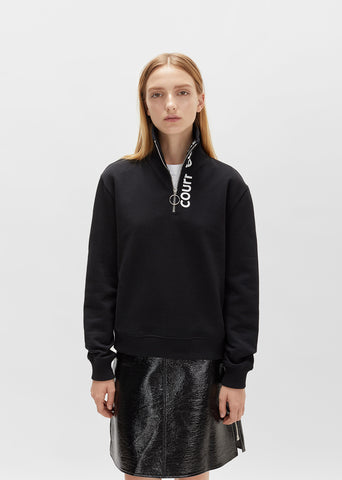 Zipped Neck Logo Sweatshirt