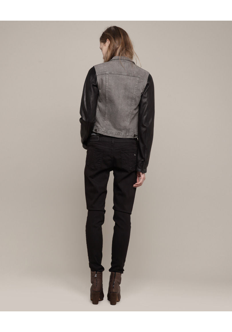 Jean Jacket with Leather Sleeves