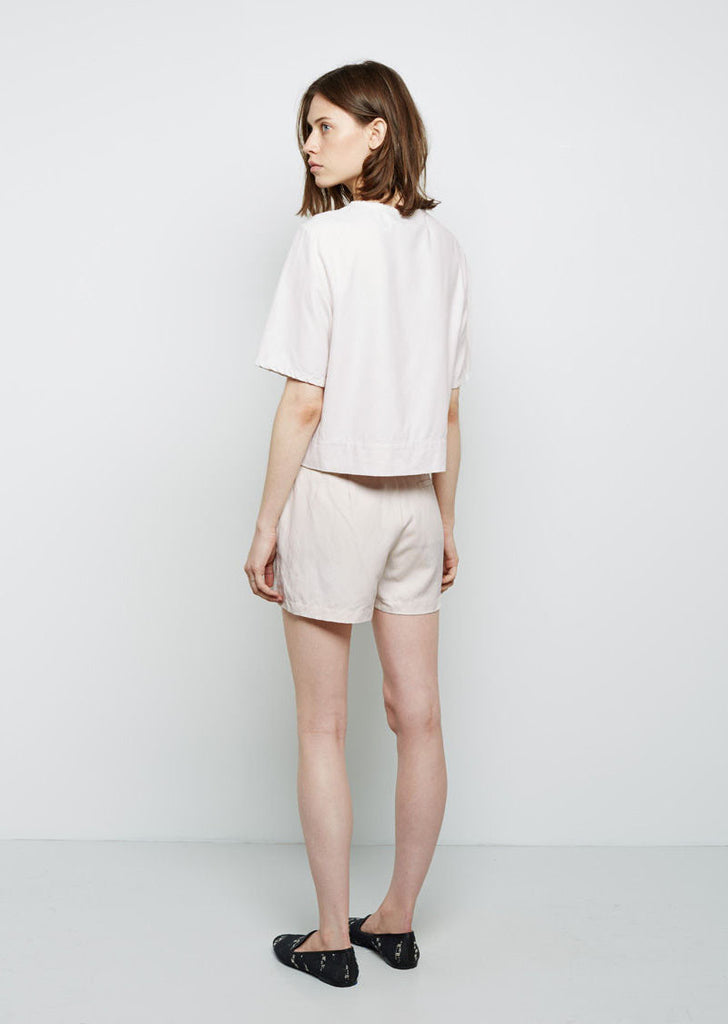 Raquel Allegra Leather Combo Shorts La Garconne