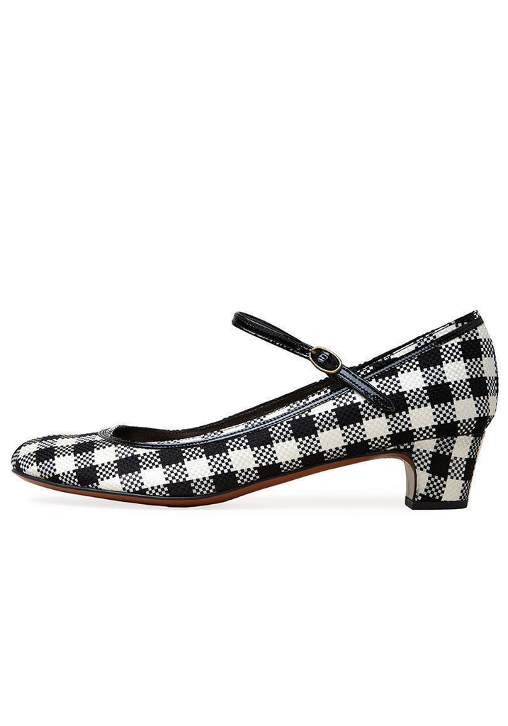 Checked Mary Jane Heel