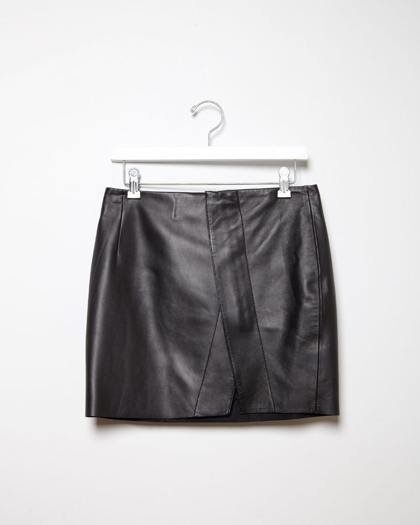 Kay Leather Wrap Miniskirt
