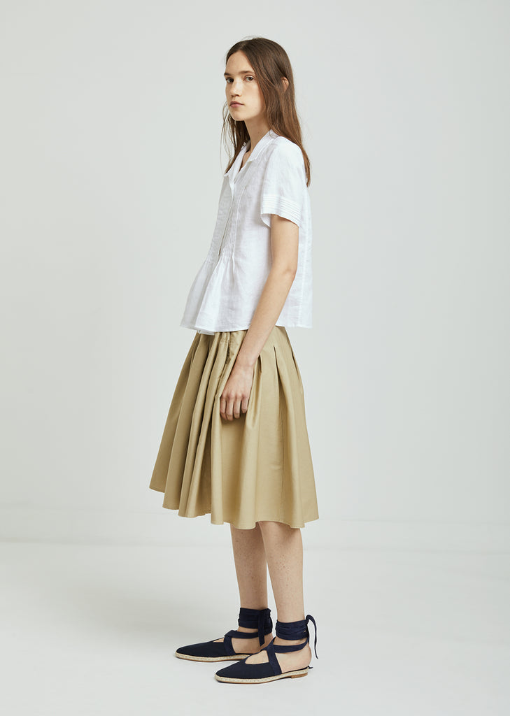 Drill High Waist Cotton Skirt