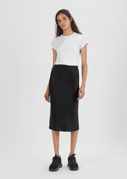 Satin Straight Midi Skirt