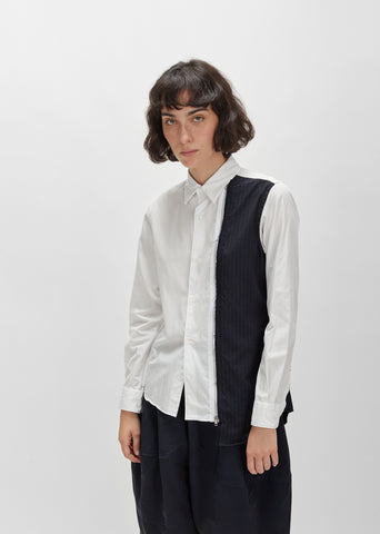 Cotton Broad x Wool Stripe Shirt