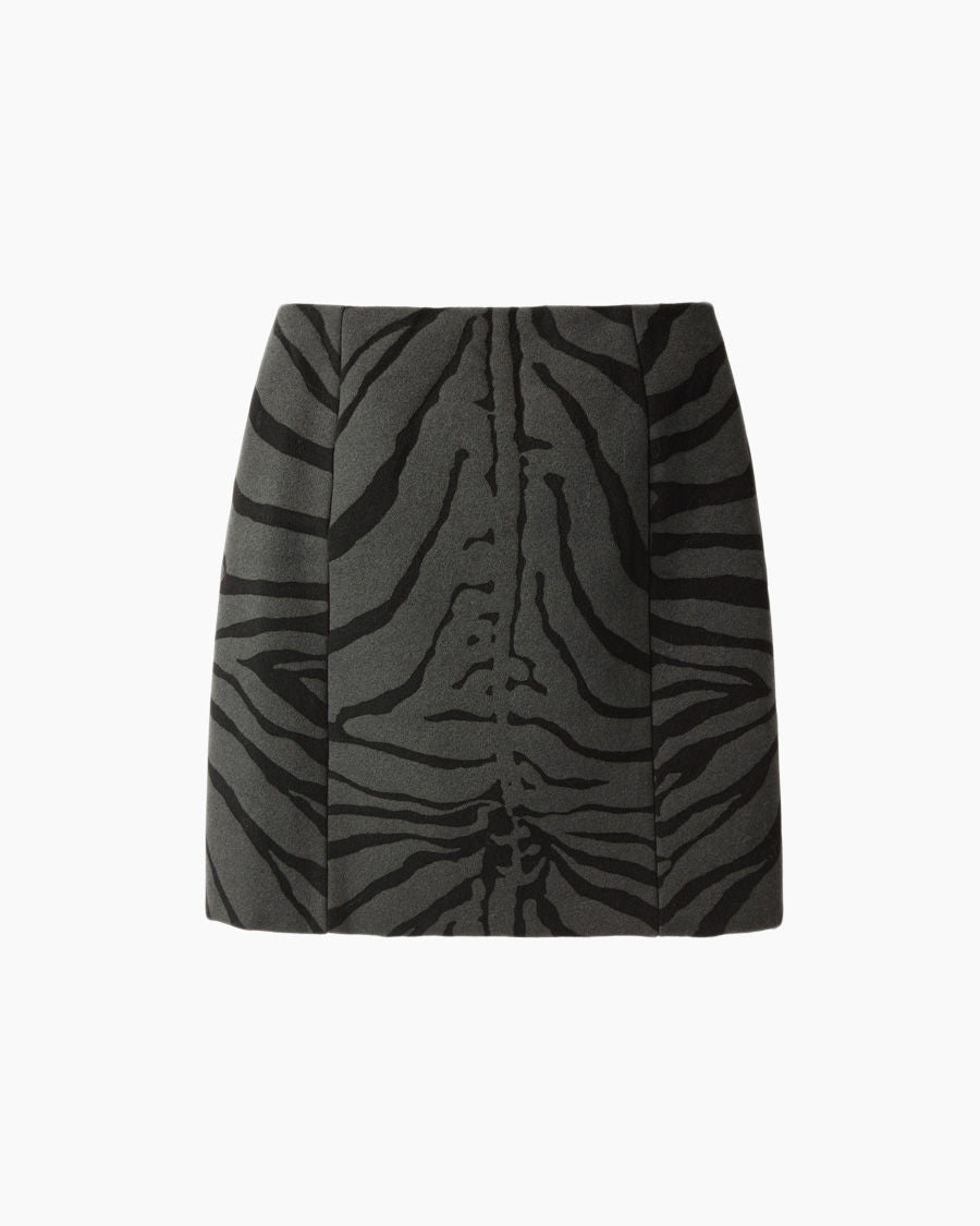 Zebra Print Woolen Mini Skirt