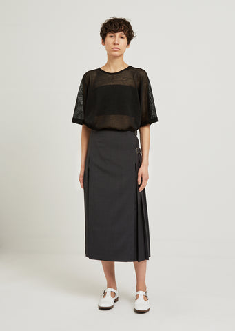 Panel Pleated Wool Skirt