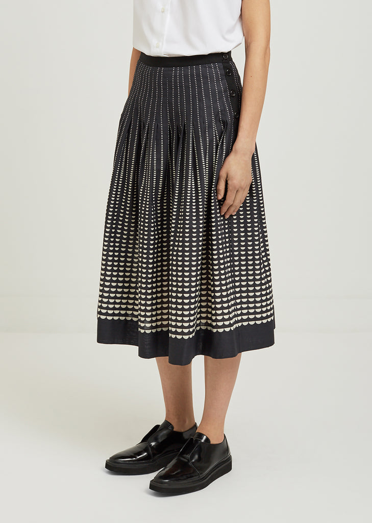Half Moon Printed Cotton Skirt