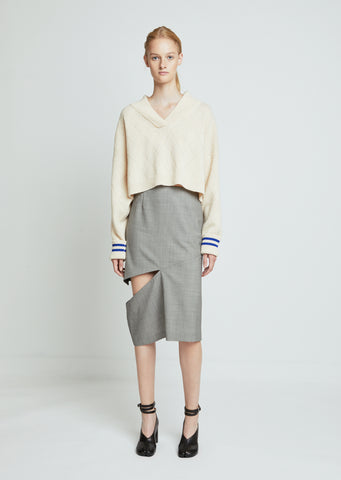 Pied De Poule Wool Skirt