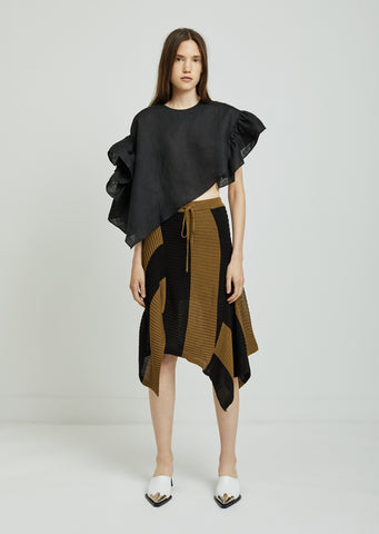 Draped Rib Knit Skirt