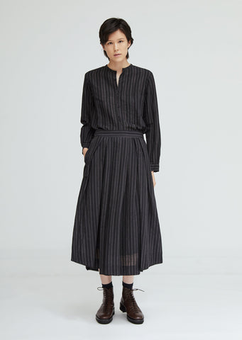 Cotton Linen Stripe Skirt