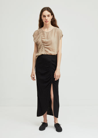 Gathered Gauze Slit Skirt