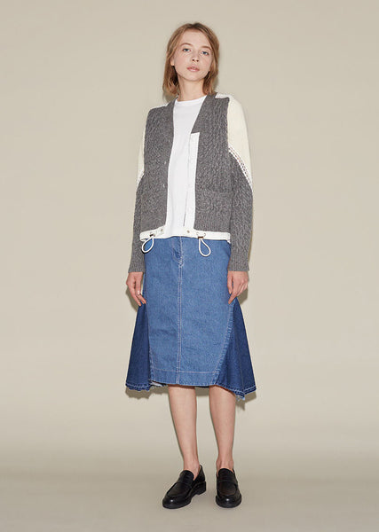 SACAI Denim Patchwork Skirt La Garconne