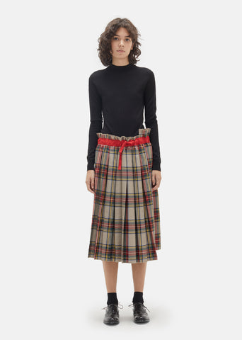 Gabardine Plaid Pleated Skirt