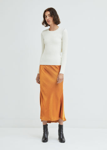 Xael Satin Bias Midi Skirt