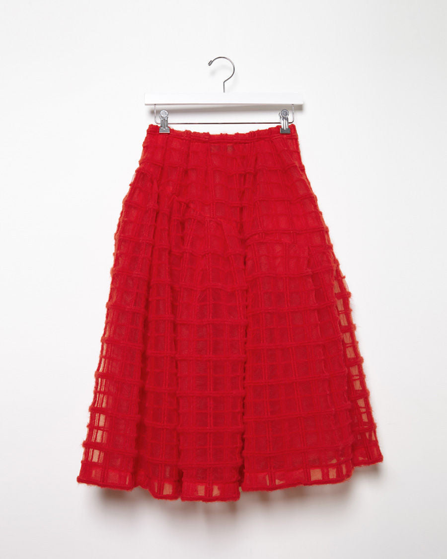 Wool Embroidered Tulle Skirt