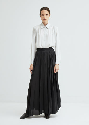 Vailen Satin Pleated Maxi Skirt