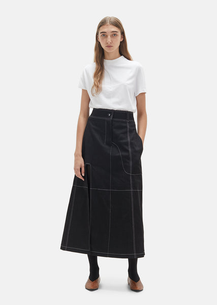 Denim Contrast Topstitch Skirt