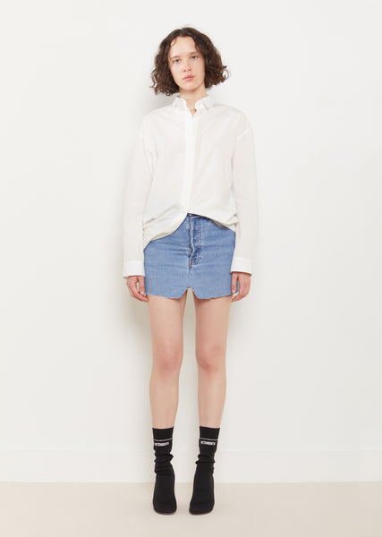 Reconstructed Denim Mini Skirt