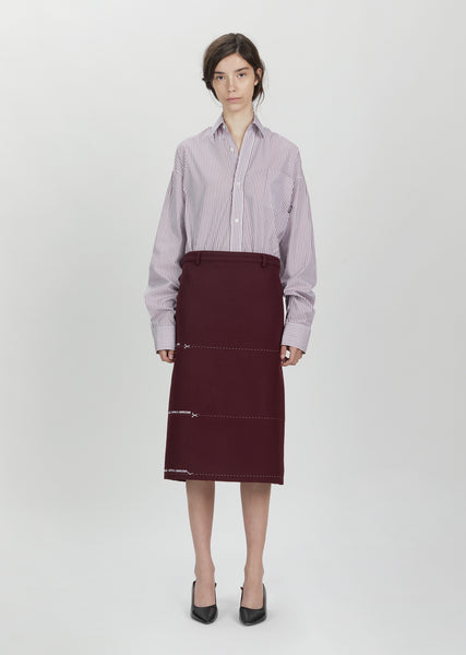 Milanesa Stitched Wool Pencil Skirt