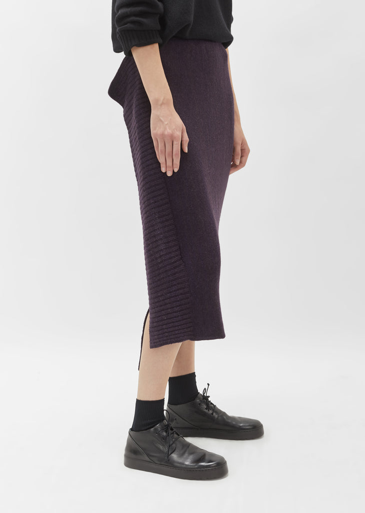 Plain Stitch Side Deco Rib Skirt