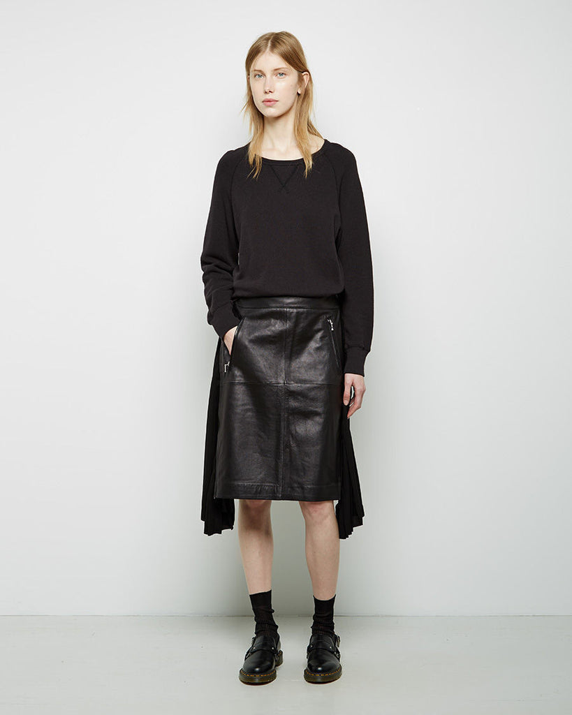 Pleated Leather Combo Skirt