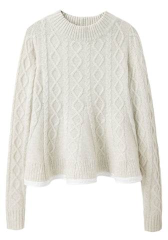 Flared Cableknit Pullover