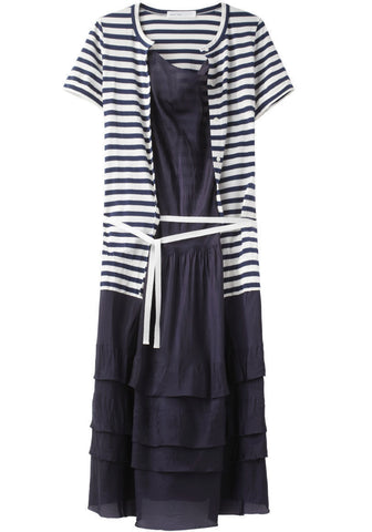 Ruffled Hem Dress with Stripe Cardigan