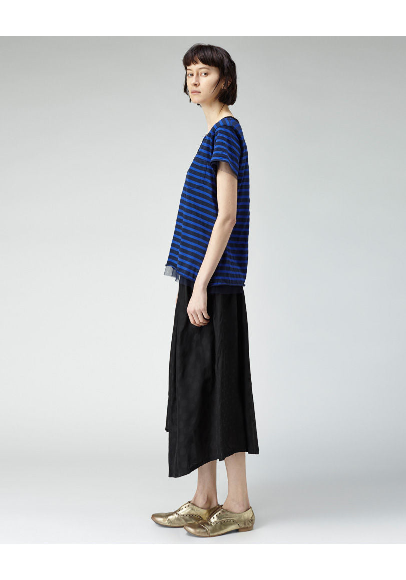 Striped Tulle Trim Tee