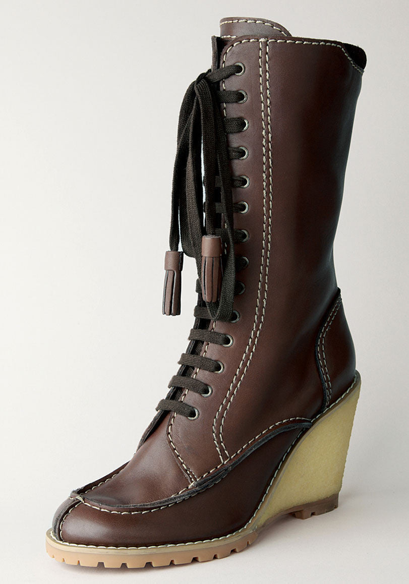 Lace-Up Wedge Boot