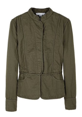 Quilted Seamed Military Jacket