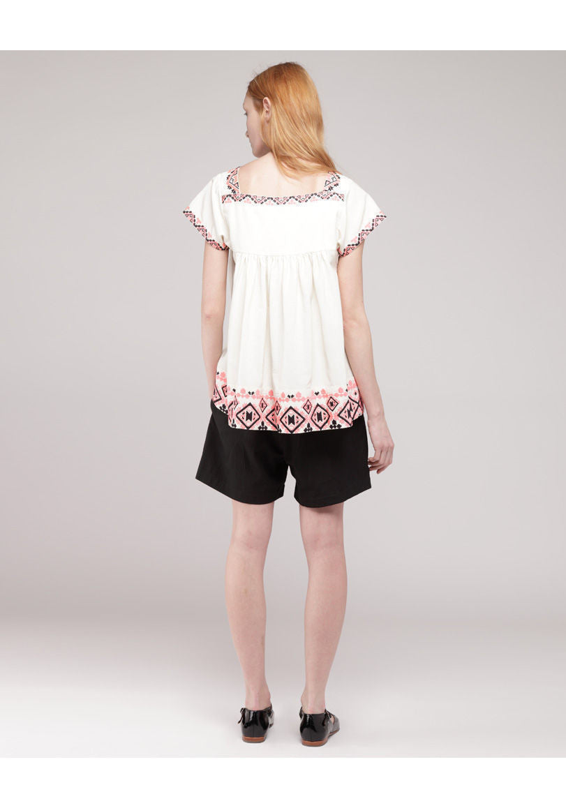 Embroidered Baby Doll Top