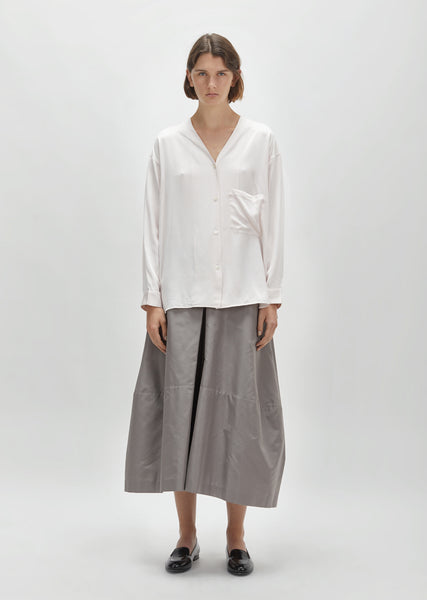 Silk Charmeuse Collarless Shirt