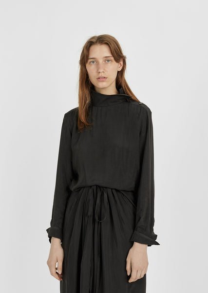 Cupro Standing Collar Blouse