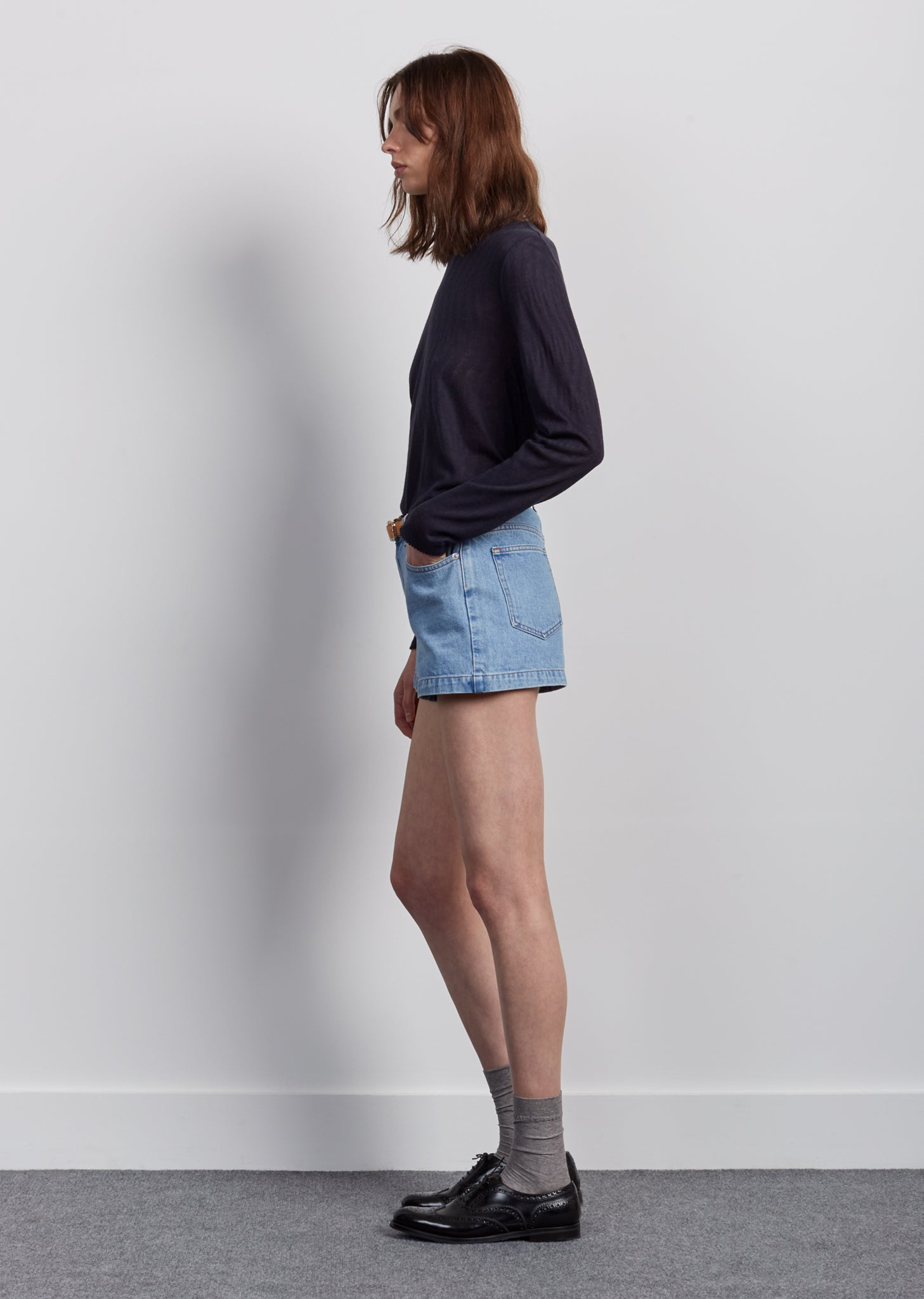 High Standard Stone Denim Shorts