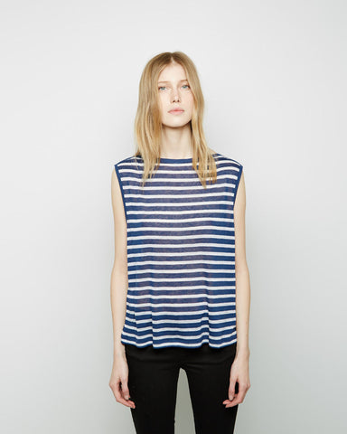 Striped Rayon-Linen Boatneck Tee