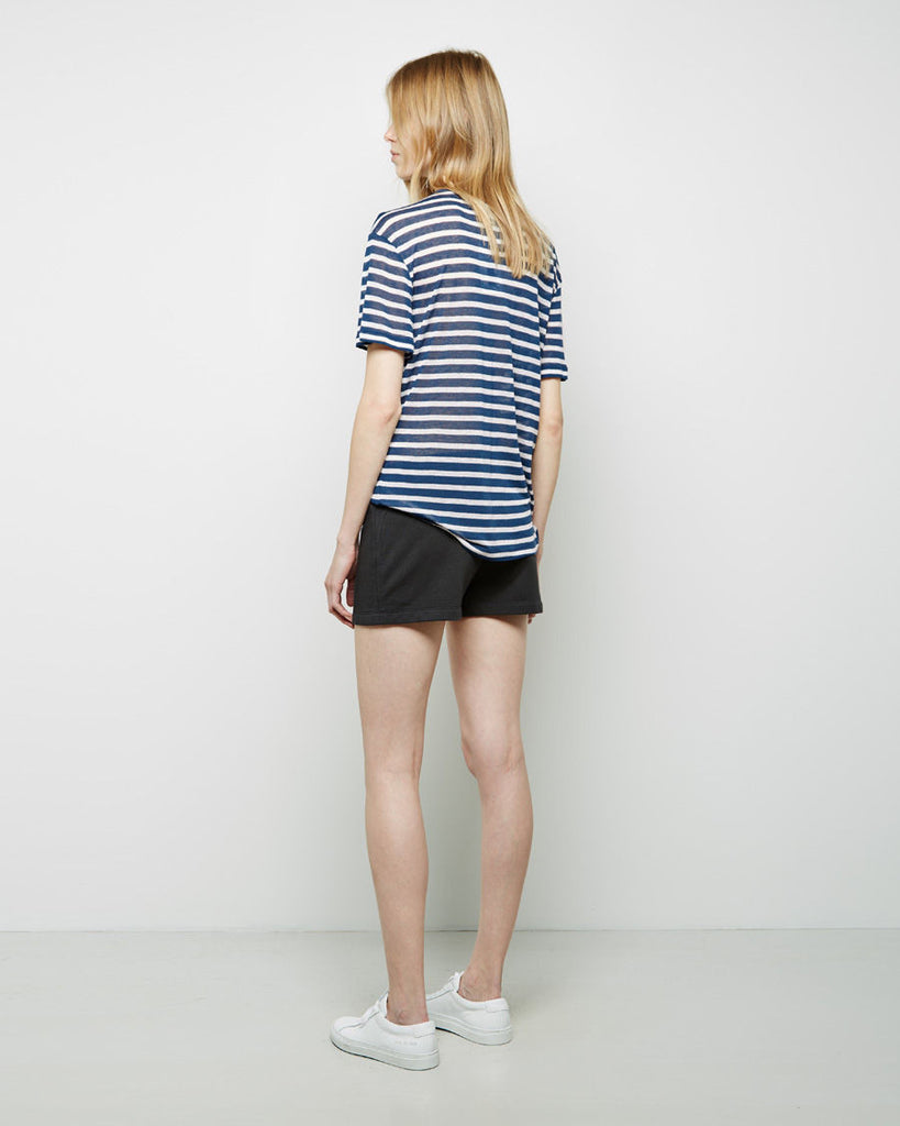 Striped Rayon-Linen Tee