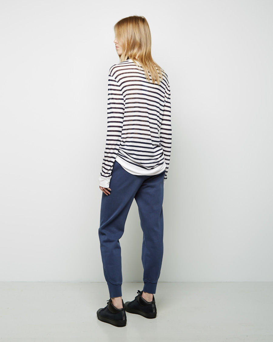 Striped Rayon-Linen Longsleeve