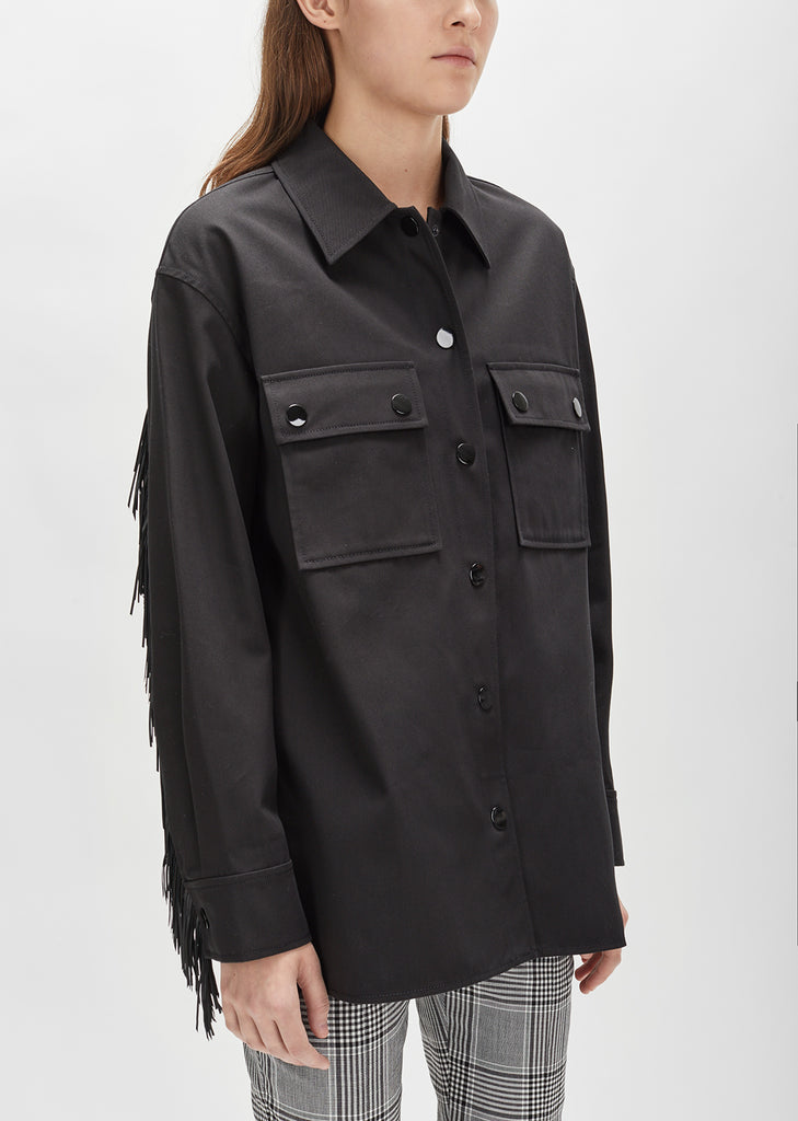 Leather Fringe Boxy Military Shirt