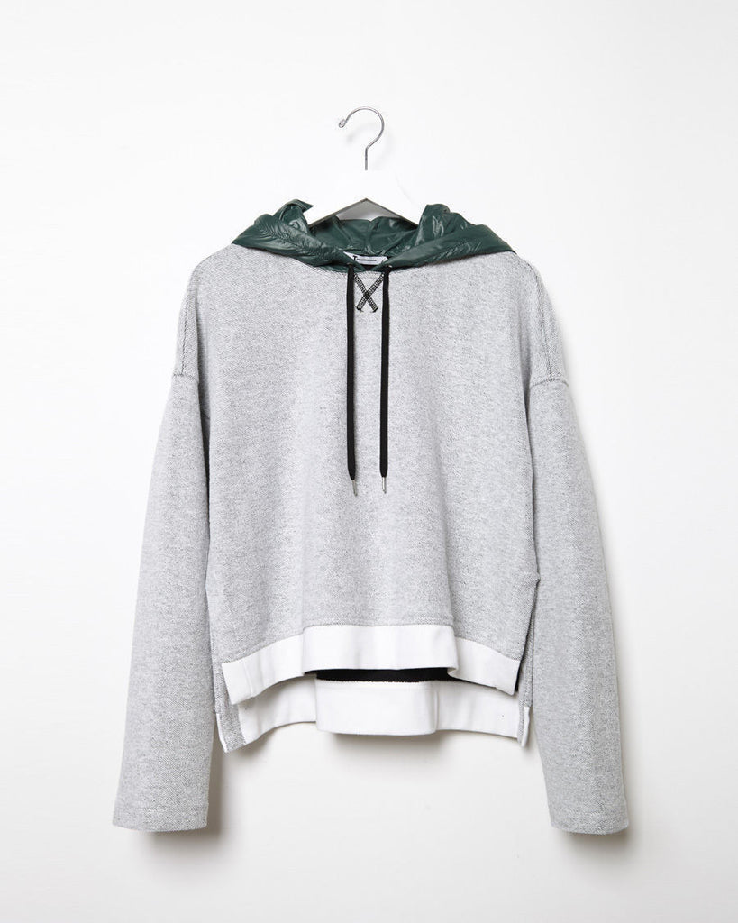 Nylon Hooded French Terry Sweatshirt