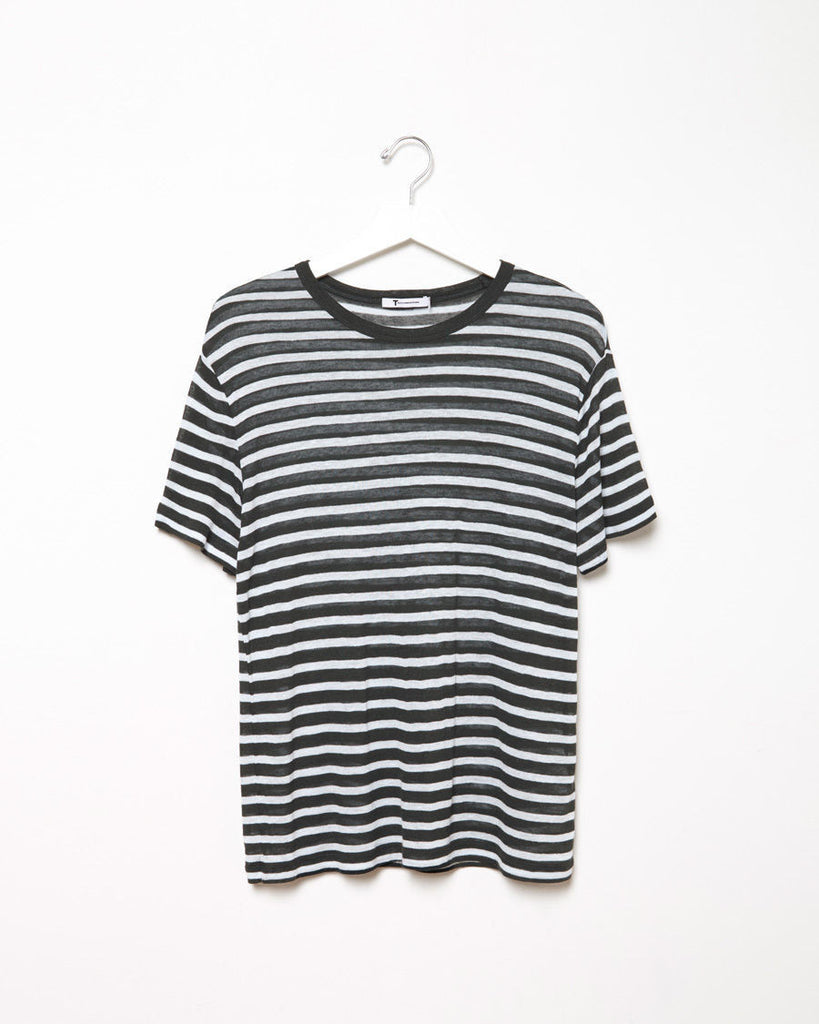 Striped Linen Blend Tee