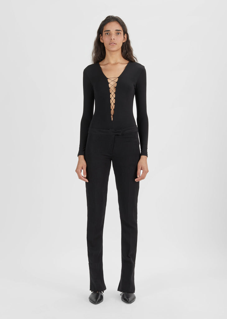 Stretch Jersey Lace-Up Bodysuit