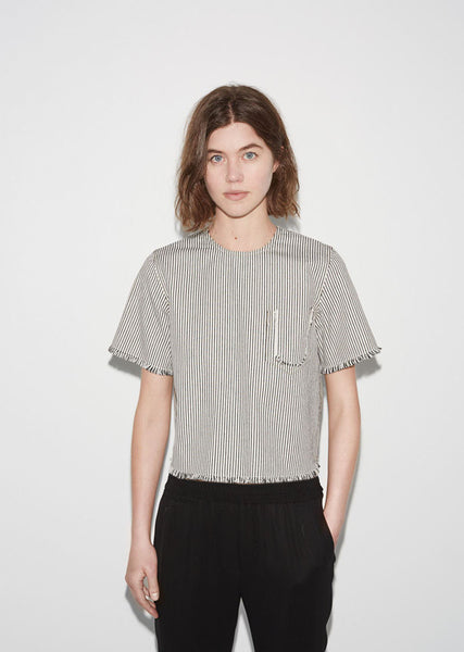 T by Alexander Wang Frayed Striped Cotton Top La Garconne