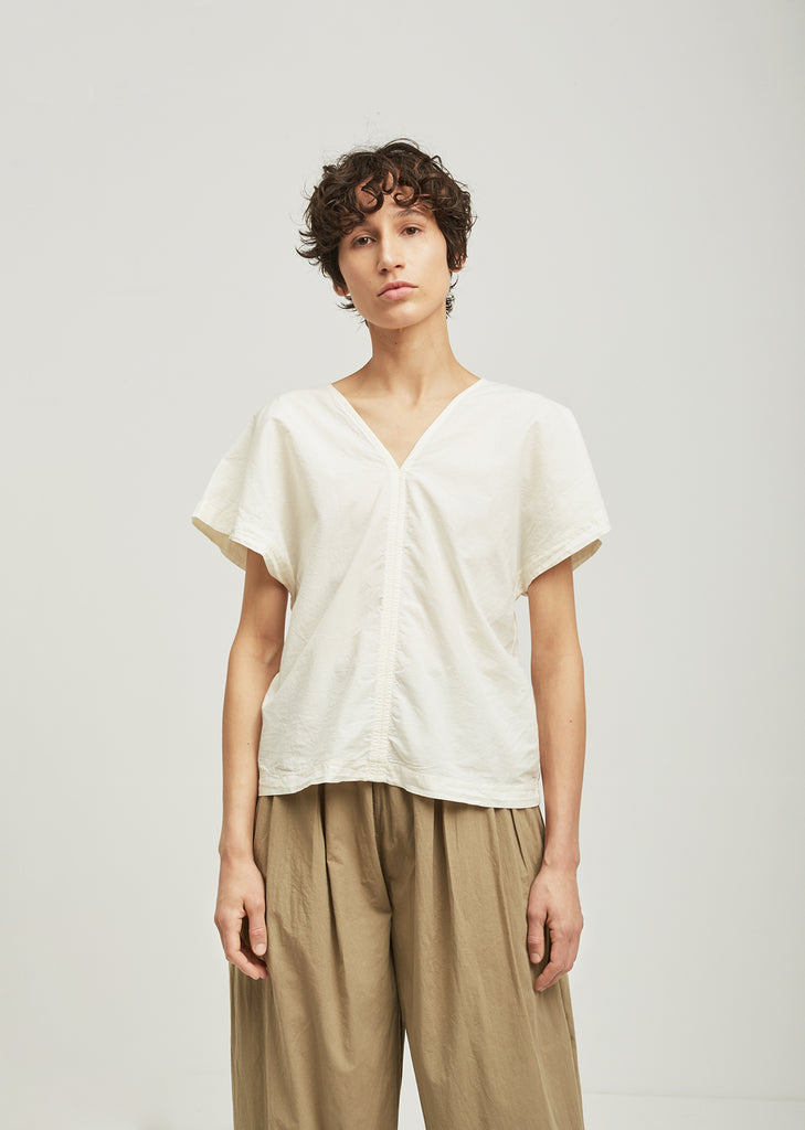 Two Panels Short Sleeve Cotton Top